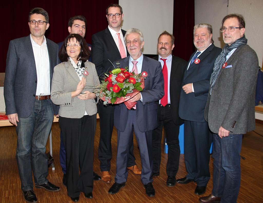 Gruppenbild mit Torsten Blank, Theresia Riedmaier, Thomas Hitschler, Alexander Schweitzer, Hermann Boher, Thomas Stübinger, Kurt Beck, Wolfgang Schwarz